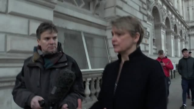 labour mps yvette cooper and hilary benn comment after meeting cabinet office minister david lidington to discuss getting a parliamentary consensus... - hilary benn stock-videos und b-roll-filmmaterial