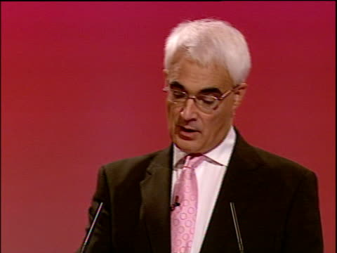 labour party annual conference: alistair darling speech; alistair darling mp speech sot - now globalisation, whether it is in the financial services,... - economy class stock videos & royalty-free footage