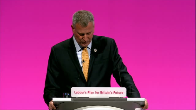 labour party annual conference: bill de blasio speech; bill de blasio speech sot - that is not only why you must win, it is why you will win - the... - チャールズ・ダーウィン点の映像素材/bロール