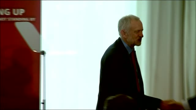 corbyn issues detailed apology after pressure from mps and jewish groups lib / int jeremy corbyn on stage with shami chakrabarti / corbyn shaking... - labor party stock videos & royalty-free footage