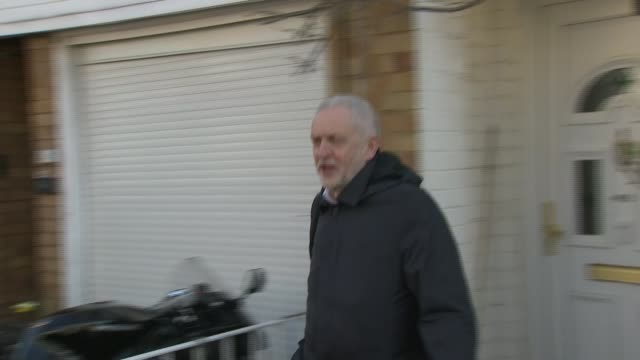 Corbyn issues detailed apology after pressure from MPs and Jewish groups Corbyn doorstep ENGLAND London Islington EXT Jeremy Corbyn MP from house to...