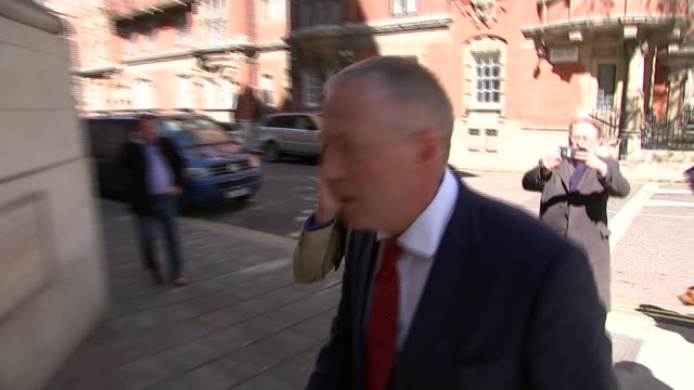 stockvideo's en b-roll-footage met ken livingstone suspended after hitler comments england london westminster ext ken livingstone along using mobile phone and arriving at building as... - ken livingstone