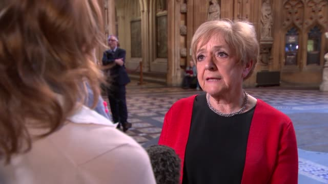 MPs discuss their experiences in Commons Westminster Palace Dame Margaret Hodge MP setup with reporter and interview SOT Corbyn is leader and has to...