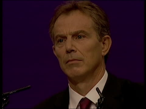 stockvideo's en b-roll-footage met blair/brown conflict identity cards lib dorset bournemouth tony blair standing on podium looking grave gordon brown sitting in audience looking... - peter mandelson