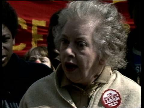 labour party chairman dame judith hart on falklands air raid on port stanley england london ext dame judith hart interview sot - judith hart stock videos & royalty-free footage