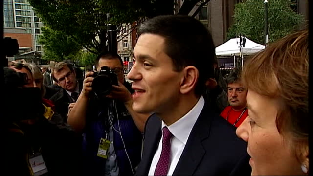 david miliband and ed miliband arrivals england manchester manchester central ext david miliband mp along with his wife louise shackleton david... - humility stock videos and b-roll footage