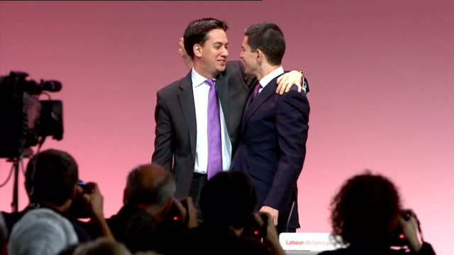 david miliband calls for unity within the party ** beware david miliband along on stage to shake hands with and embrace brother ed miliband mp... - david miliband stock videos & royalty-free footage