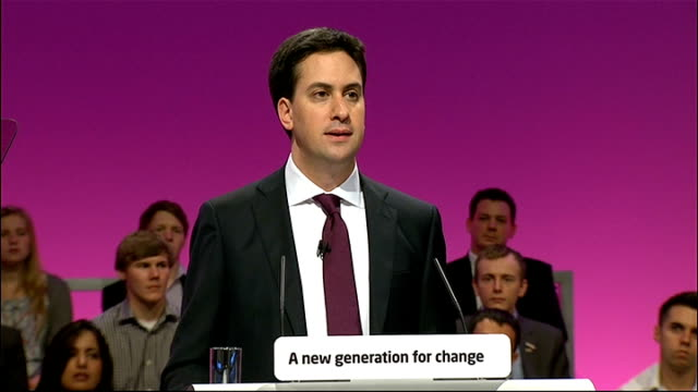 labour party conference 2010: ed miliband's first speech as new labour leader; ed miliband speech sot - and we need a tax system for business that... - part time worker stock videos & royalty-free footage