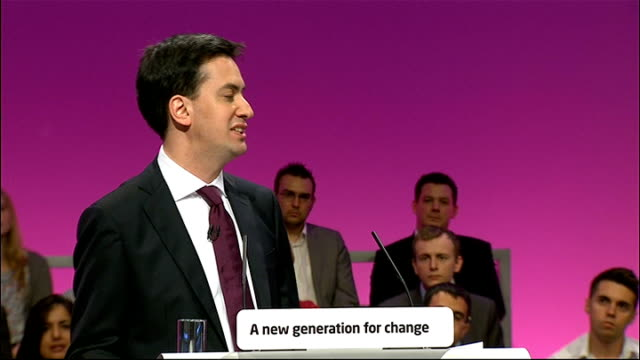 labour party conference 2010: ed miliband's first speech as new labour leader; ed miliband speech sot - and i understand also that the promise of new... - politics and government stock videos & royalty-free footage