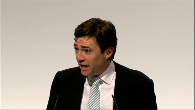 Andy Burnham speech ENGLAND Merseyside Liverpool PHOTOGRAPHY *** Andy Burnham introduced onto stage at Labour Party Conference SOT / Andy Burnham MP...