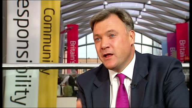 ed balls speech ed ball interview sot i said today our national debt came down year by year we got a lower national debt than america france and... - financial accessory stock videos and b-roll footage