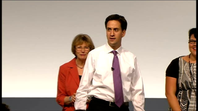 labour party conference 2011: ed miliband takes part in q&a session; **music heard sot** miliband on stage with joan bakewell , eddie izzard and amy... - joan bakewell stock videos & royalty-free footage