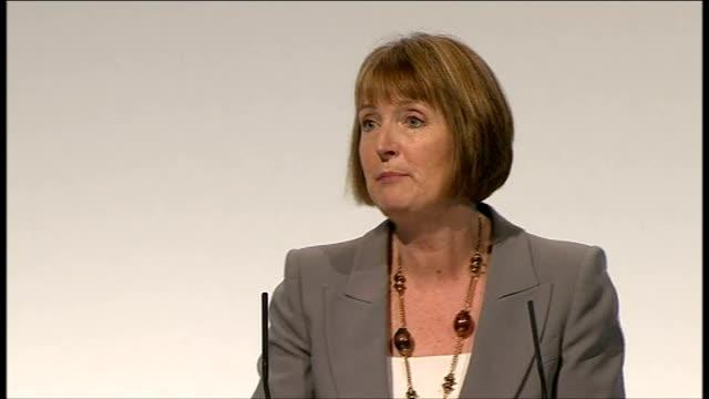 Harriet Harman speech / end of conference songs ENGLAND Merseyside Liverpool INT Harriet Harman introducd and along to podium / Harriet Harman speech...