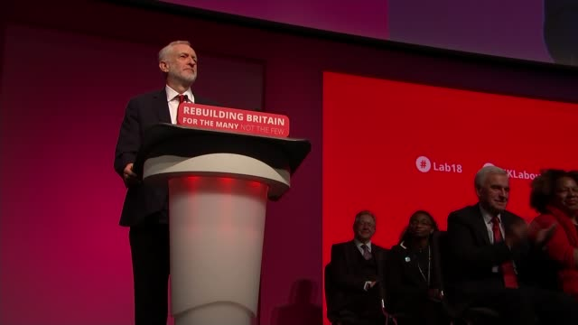 jeremy corbyn lays out party agenda / offers truce with theresa may on brexit deal liverpool uk jeremy corbyn arrival and conference speech cutaways... - diane abbott stock videos & royalty-free footage