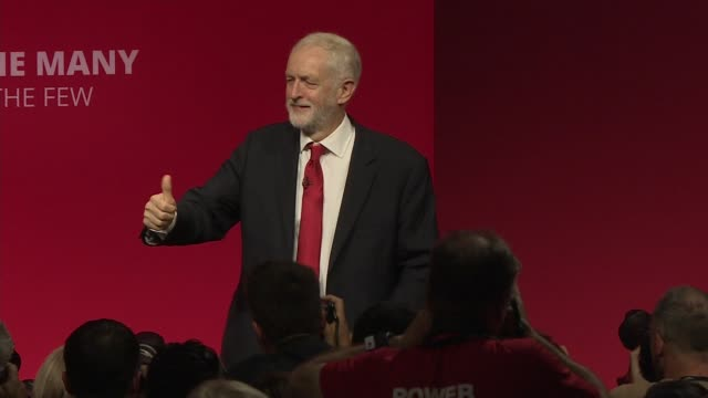 labour party conference 2019: jeremy corbyn speech; uk, brighton: audience applaud labour party leader jeremy corbyn mp at the end of his speech to... - jeremy corbyn stock videos & royalty-free footage