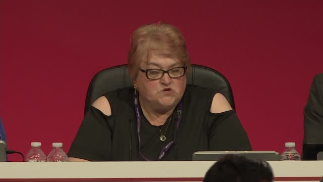 labour party conference 2019: labour delegates vote on three brexit proposals; england: east sussex: brighton: int wendy nichols on stage chairing... - labour party stock videos & royalty-free footage