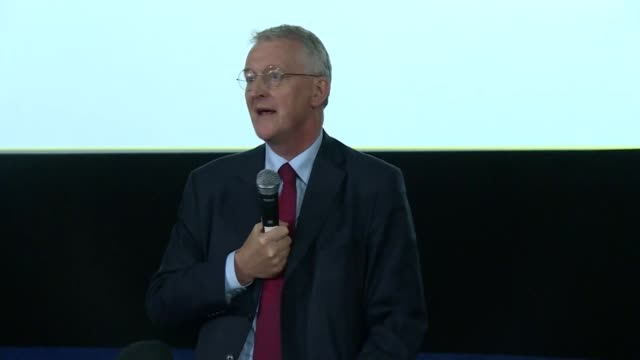 labour party conference 2019: progress rally - part 1; england: east sussex: brighton: int hilary benn mp speech sot - plain background stock videos & royalty-free footage