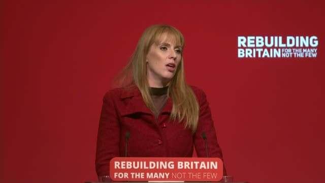 labour party conference: angela rayner speech; england: merseyside: liverpool: int angela rayner mp speech sot. - modernising school buildings,... - labour party stock videos & royalty-free footage