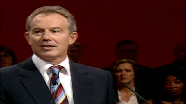 labour party conference: blair speech; in 1994, i stood before you for the first time and shared with you the country's anger at crumbling school... - social history stock videos & royalty-free footage