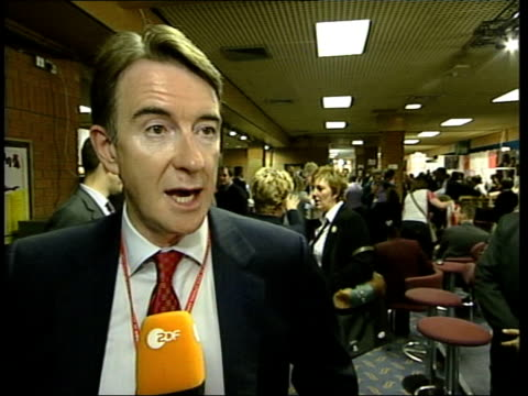 stockvideo's en b-roll-footage met blair speech itn dorset bournemouth int cms labour party delegates applauding prime minister tony blair mp track cms dr rupa hug interview sot cms... - peter mandelson