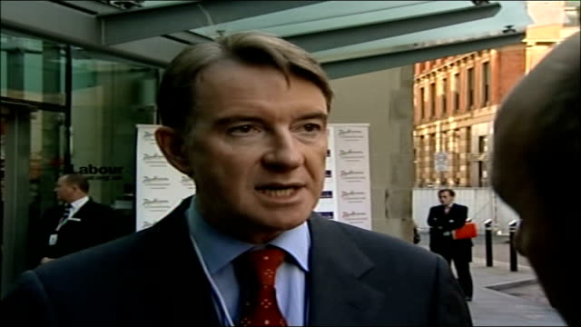 stockvideo's en b-roll-footage met blair speech mandelson interview england manchester ext peter mandelson interview sot talks of the great strengths qualities and political skills of... - peter mandelson