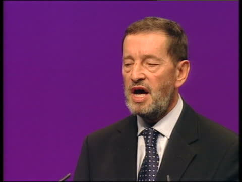 blunkett/prescott speeches dorset bournemouth home secretary david blunkett mp at podium lms side ditto cms david blunkett mp speech sot cutaway... - assistive technology stock videos & royalty-free footage