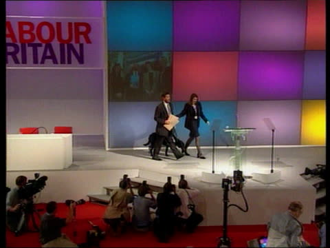David Blunkett speech ITN ENGLAND Lancashire Blackpool St George's High School Prime Minister Tony Blair MP standing with Education Secretary David...