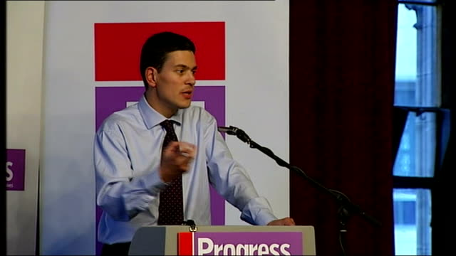 labour party conference: david miliband speech at 'progress' rally; - we've been good at talking the language of priorities, but how good have we... - politics and government stock videos & royalty-free footage