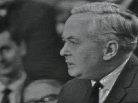 """labour party conference: day 2:; 1) england, scarborough: harold wilson: """"britain is not so rich in facilities in training scientists and... - computer stock videos & royalty-free footage"""