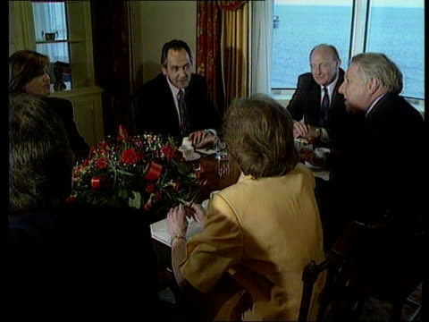 stockvideo's en b-roll-footage met day 2 england brighton tms labour meeting round table including margaret beckett roy hattersley neil kinnock john cunningham tms tony blair margaret... - roy hattersley