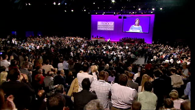 day four england manchester manchester central convention complex labour party conference photography * * sarah brown along to podium smiling at... - tights stock videos & royalty-free footage
