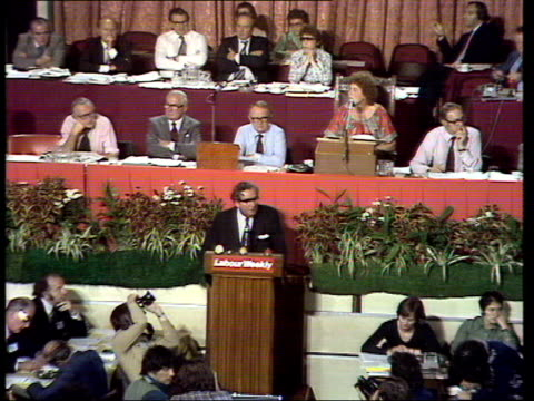 labour party conference denis healey on winning next election england blackpool ms audience zoom in to denis healey chancellor of the exchequer... - chancellor of the exchequer stock videos and b-roll footage