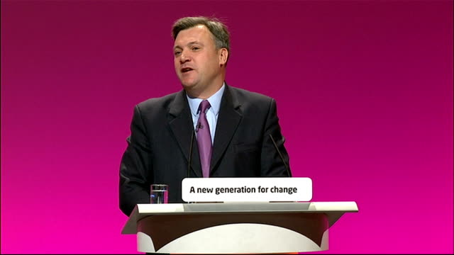 labour party conference: ed balls speech; ed balls speech sot - and when the tories and the liberal democrats say we have to cancel building schools... - wall street crash of 1929 stock videos & royalty-free footage