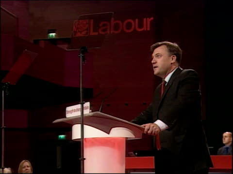 labour party conference: ed balls speech; england: dorset: bournemouth: labour party conference: int * * beware flash photography * * ed balls mp... - general certificate of secondary education stock videos & royalty-free footage