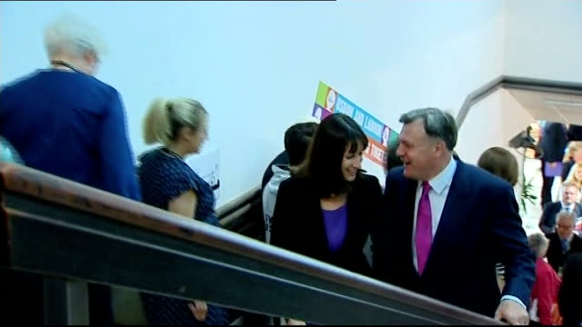 vídeos y material grabado en eventos de stock de ed balls speech england east sussex brighton int ed balls mp up stairs and then along into conference with rachel reeves mp - east sussex