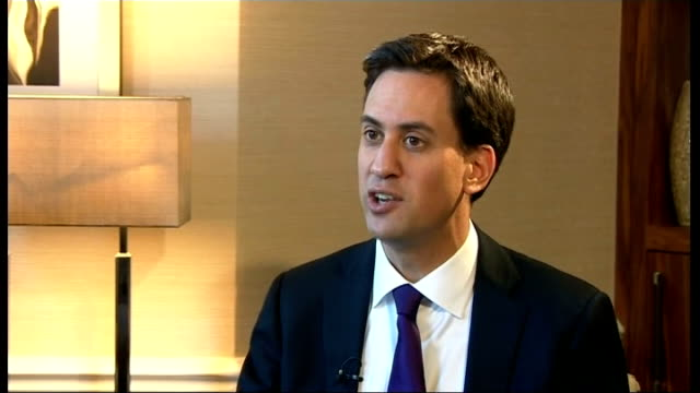 ed miliband interview setup shot of ed miliband being prepared for interview with reporter q one nation isn't it just another annoying slogan ed... - annoying colleague stock videos & royalty-free footage