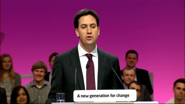 labour party conference: ed miliband's first speech as new labour leader; ed miliband speech sot - conference i stand here today ready to lead, a new... - no doubt band stock videos & royalty-free footage