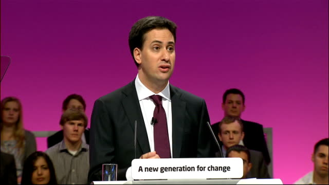 Ed Miliband's first speech as new Labour leader Ed Miliband speech SOT We need to win the public to our cause and what we must avoid at all costs is...