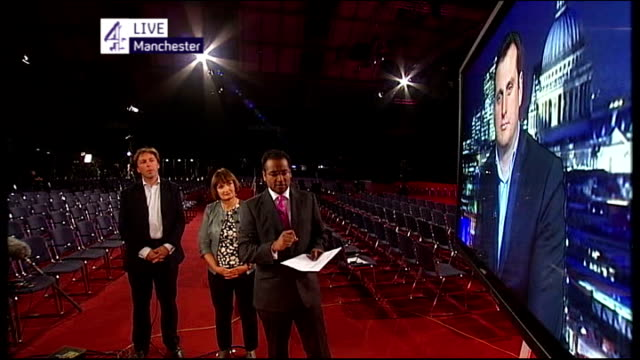 ed miliband's first speech as new labour leader england manchester int richard exon live 2way interview ex london sot phil collins live interview sot... - phil collins stock videos & royalty-free footage