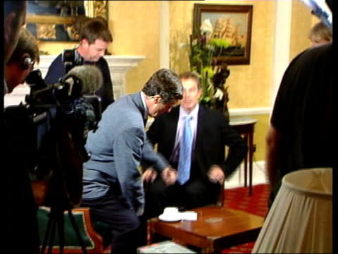 conference fears of blair/brown split ms blair sitting down with gmtv presenter john stapleton for interview blair sat with stapleton - stapleton stock videos & royalty-free footage
