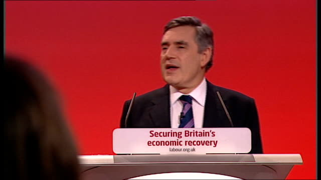 labour party conference: gordon brown keynote speech; **flashlight photography throughout** **cutaways of audience throughout** england: sussex:... - social history stock videos & royalty-free footage