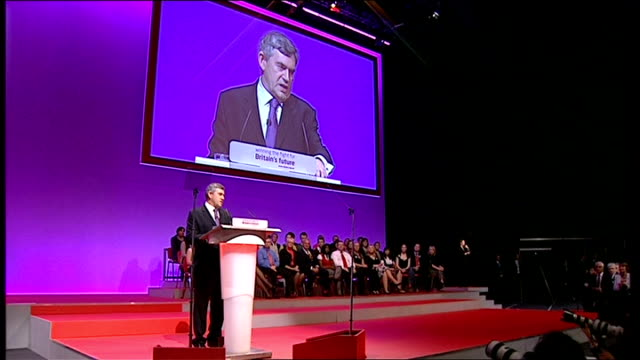 stockvideo's en b-roll-footage met gordon brown keynote speech fourth integrity removing conflicts of interest so that bonuses should not be based on short term speculative deals but... - cut video transition