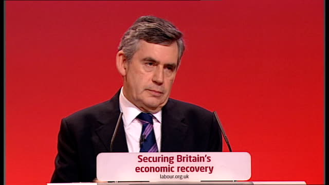 gordon brown keynote speech gordon brown speech continued sot since 1997 labour has given this country back its future and we are not done yet/ we... - keynote speech stock videos and b-roll footage