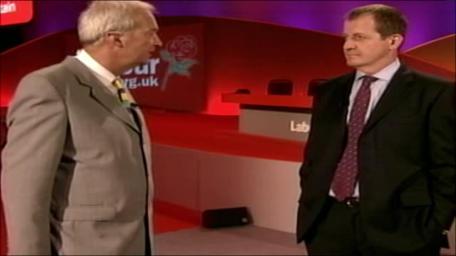 labour party conference: gordon brown speech; int alastair campbell talking to jon snow alastair campbell interview sot - believes that politics is... - soap opera stock videos & royalty-free footage