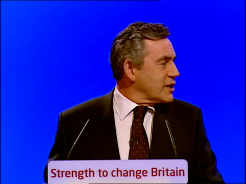 vidéos et rushes de labour party conference: gordon brown's keynote speech; gordon brown mp speech sot - honoured and humbled by the trust you have given me, i am... - haymarket