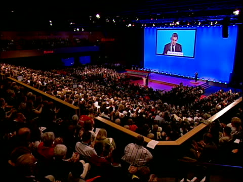 gordon brown's keynote speech gordon brown mp speech sot a strong britain is a britain of strong communities whereby accepting our mutual obligations... - keynote speech stock videos and b-roll footage