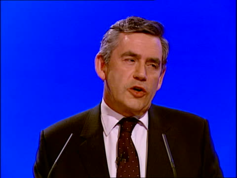 gordon brown's keynote speech gordon brown mp speech sot so what first made me want to do something in public service / i don't recall all the... - keynote speech stock videos and b-roll footage