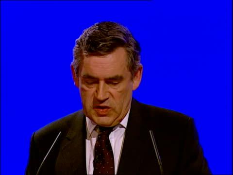 vídeos y material grabado en eventos de stock de labour party conference: gordon brown's keynote speech; gordon brown mp speech sot - because we, as a labour government, introduced six months paid... - new age