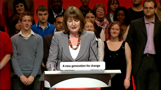 labour party conference: harriet harman speech; harriet harman speech continued sot - i want to thank my family especially my husband jack dromey .... - joan bakewell stock videos & royalty-free footage