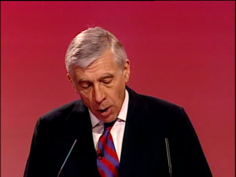 Jack Straw speech ENGLAND Dorset Bournemouth PHOTOGRAPHY *** Jack Straw MP speech SOT Justice is the starting point of everything we stand for...
